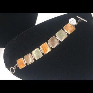 B0999 Silpada Silver, Pyrite, Bronzite & Jasper